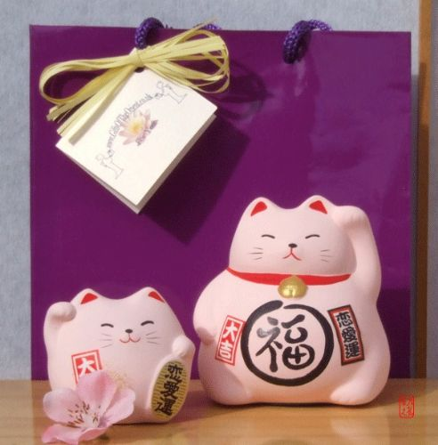 Gift Bag - 2 Lucky cats pink for love – rounded & medium - waving Maneki Neko Feng Shui